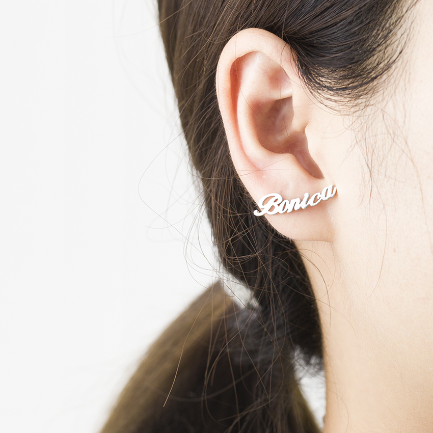 1 Pair Personalized Stainless Steel Custom Name Earrings For Women Customize Nameplate Stud Earring Gift For Best Friend