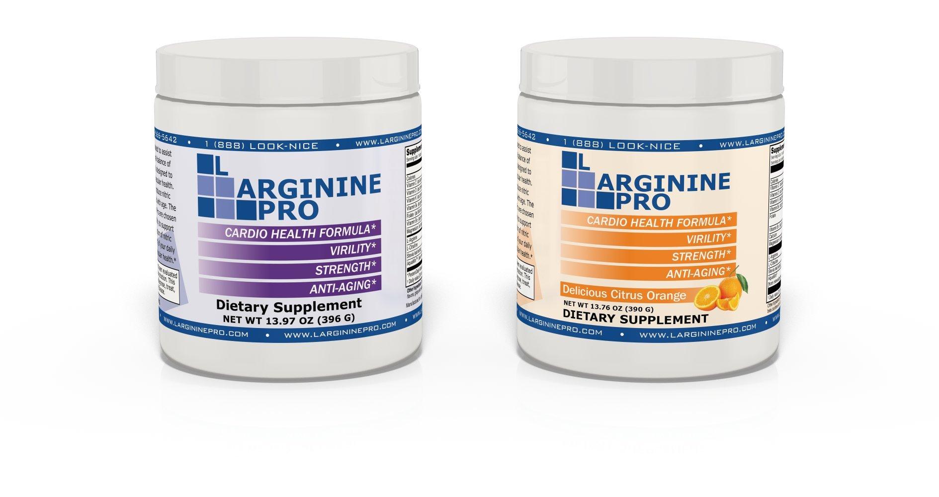 L-arginine Pro, #1 NOW L-arginine Supplement - 5,500mg of L-arginine PLUS 1,100mg L-Citrulline + Vitamins & Minerals for Cardio Health, Blood Pressure, Cholesterol, Energy (Berry & Orange, 2 Jars)