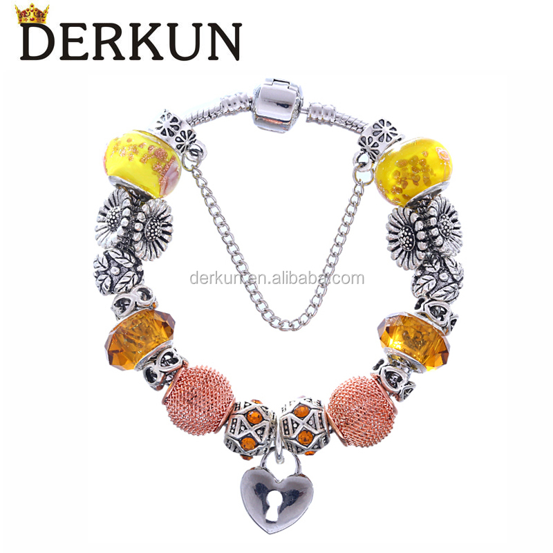 Ally Express Wholesale Yellow Crystal Beads Charm Bracelets for Women