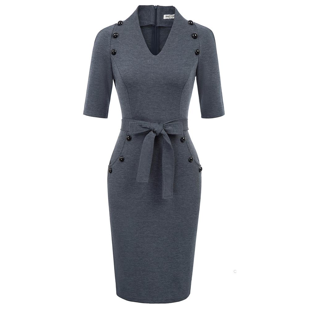 GRACE KARIN Womens Vintage 3//4 Sleeve Crew Neck Hip-Wrapped Bodycon Pencil Dress