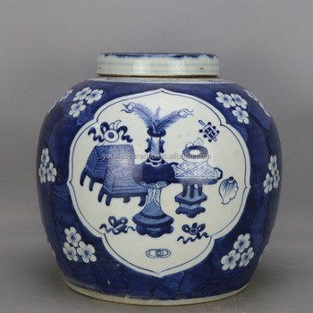 Chinese Antique Blue And White Porcelain Jars With Lids