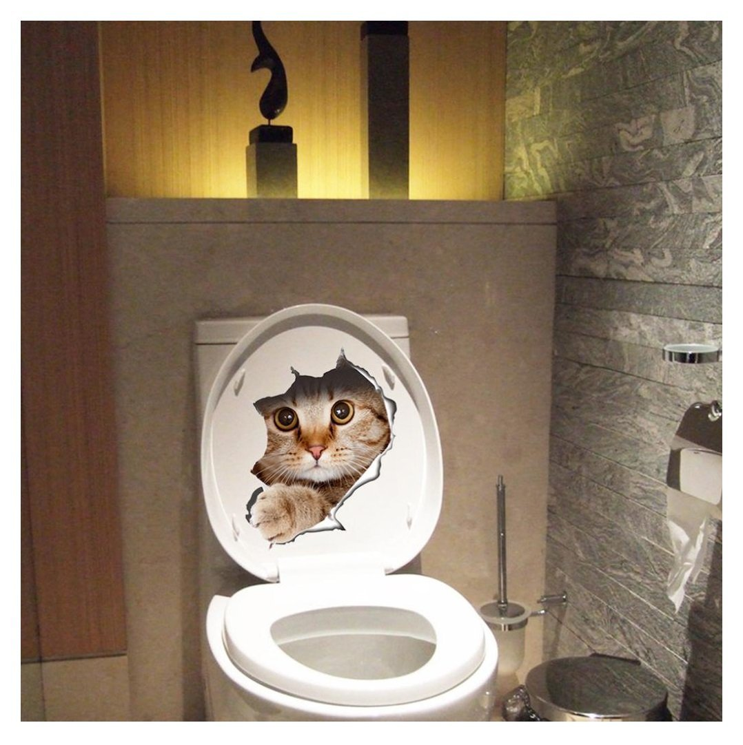 Toilet sticker, Kemilove New Cat Toilet Seat Wall Sticker Art Removable Bathroom Decals Decor