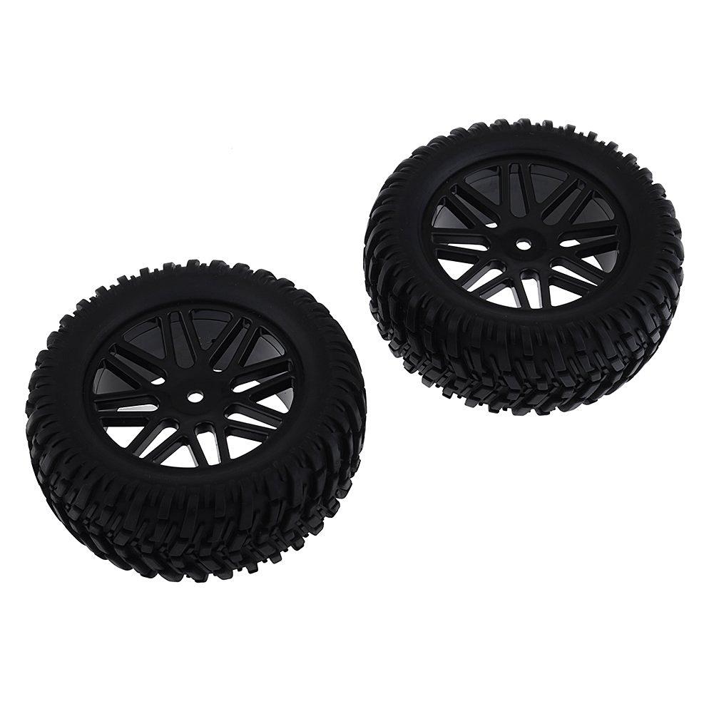 Neewer® 2 PCS Black 90mm Soft Rubber Tyre Set 8 Spoke Wheel Rim for 1/10 RC On-Road Car Flat Run Car