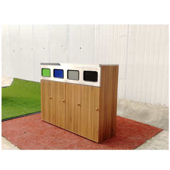 BS23 Stainless Steel Standing Waste Cans  4 Compartment Recycling Bin Wooden   Separate Waste Collection Container  Outdoor