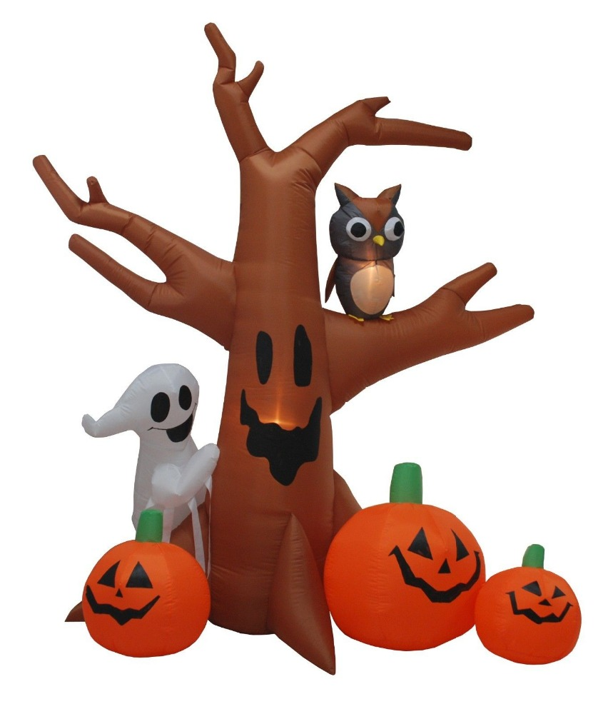 8FTHalloween Outdoor Scary Inflatable Dead Tree Ghost Pumpkins Spiders Lights