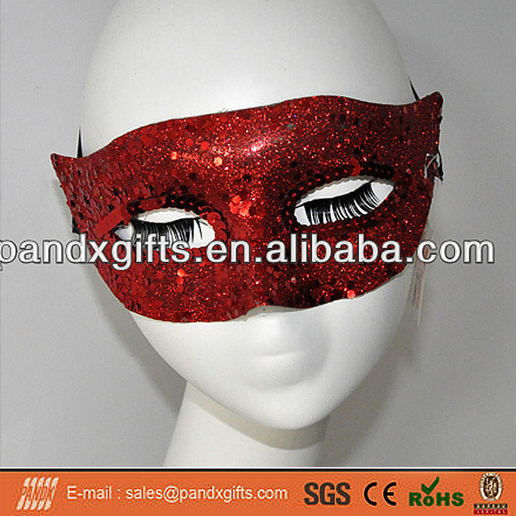 Halloween decoration plastic red masquerade half face party mask