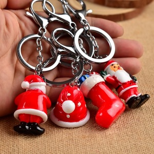 2018 Christmas gift 3d Santa Claus key chain stocking hat keychain