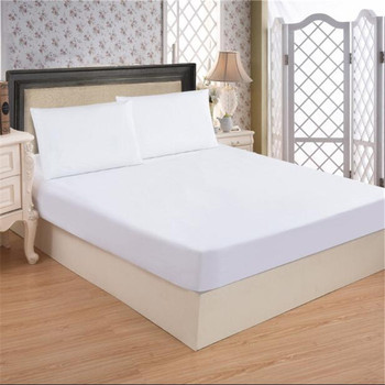 Customized White Fabric Elastic Rubber Cotton Fitted Bed Sheet Mattress  Protector Wholesale