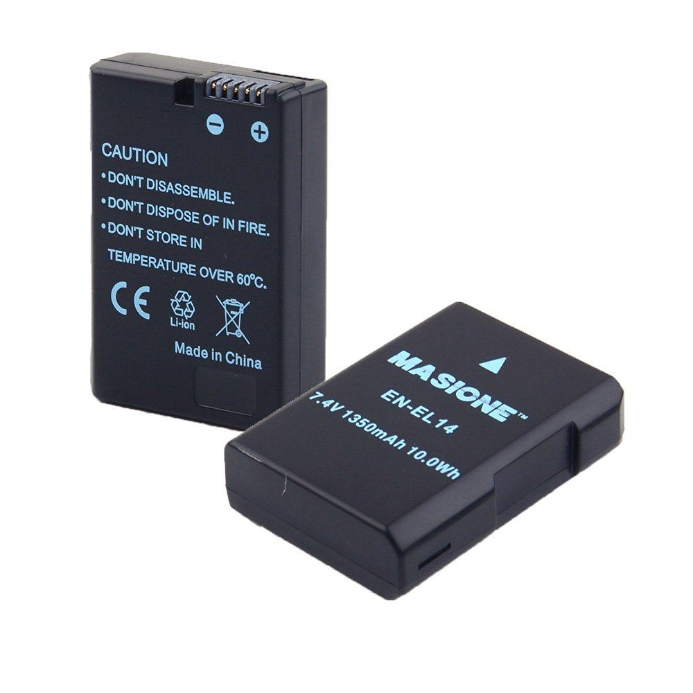 2x Masione 7.4V 1350mAh Replacement Nikon EN-EL14 Battery for Nikon D3100 D3200 D5100 P7000 P7100 P7700 DSLR Cameras