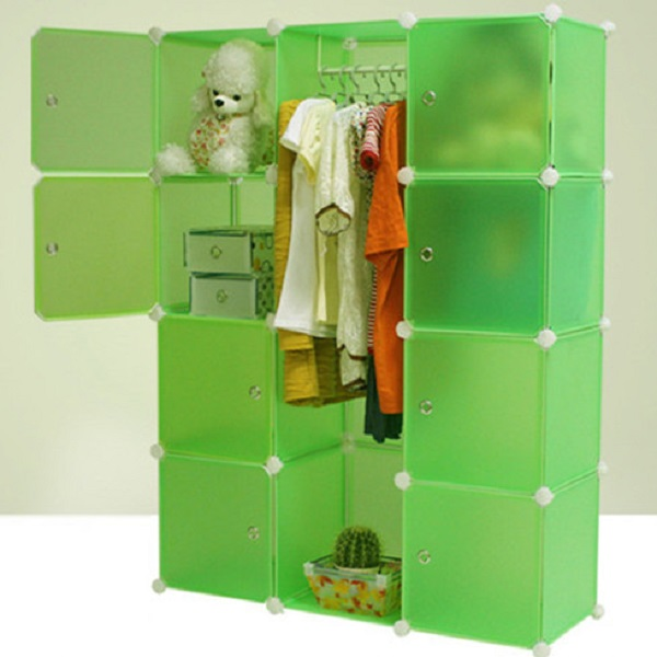 Bedroom furniture plastic wardrobe 8 cases storage closet