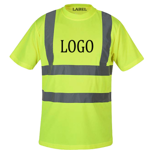 Hi vis t shirt work safety clothing workwear dry fit tee shirt short sleeve reflective safety shirt