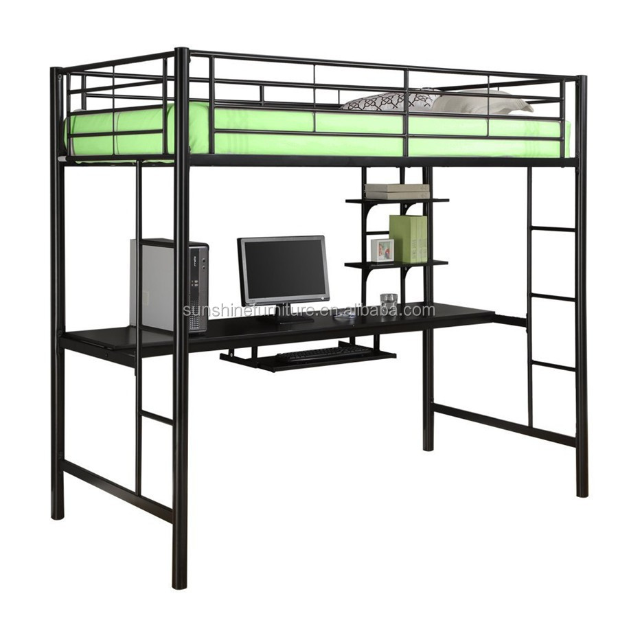Kids Bedroom Furniture Black Metal Twin Loft Bed With Desk ...