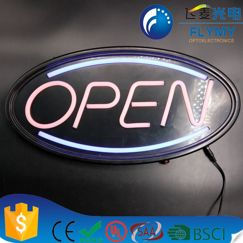 Manufacturer custom color easy use hanging LED lights flex neon sign open adverting neon light