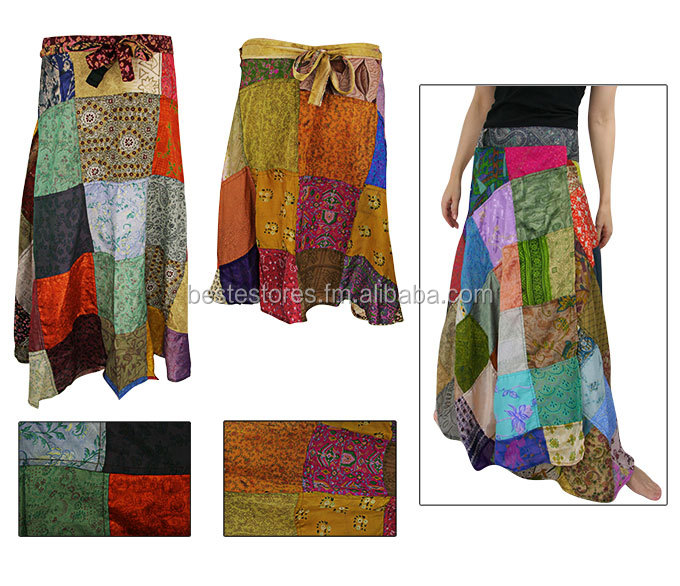 Colourful Wrap SILK PATCHWORK SKIRT recycled sari patch