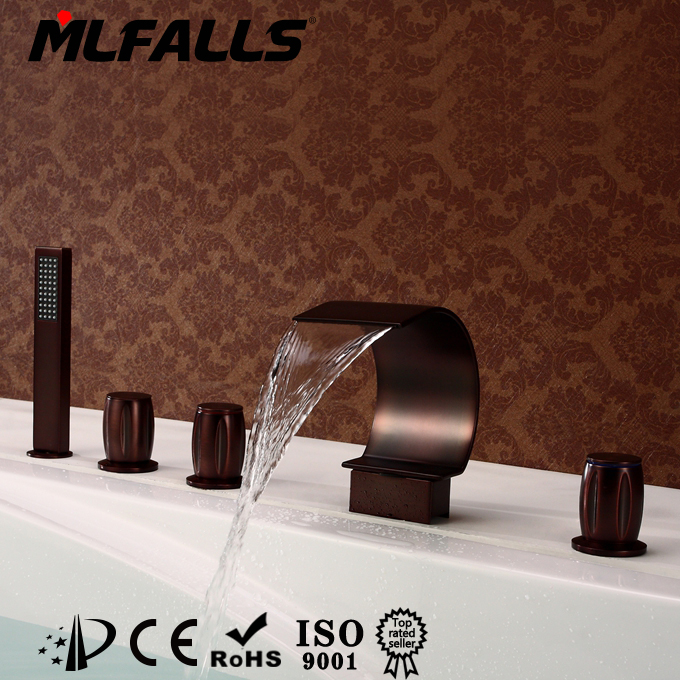 High grade factory direct price unique design waterfall bathroom bathtub faucet with hand shower MLFALLS