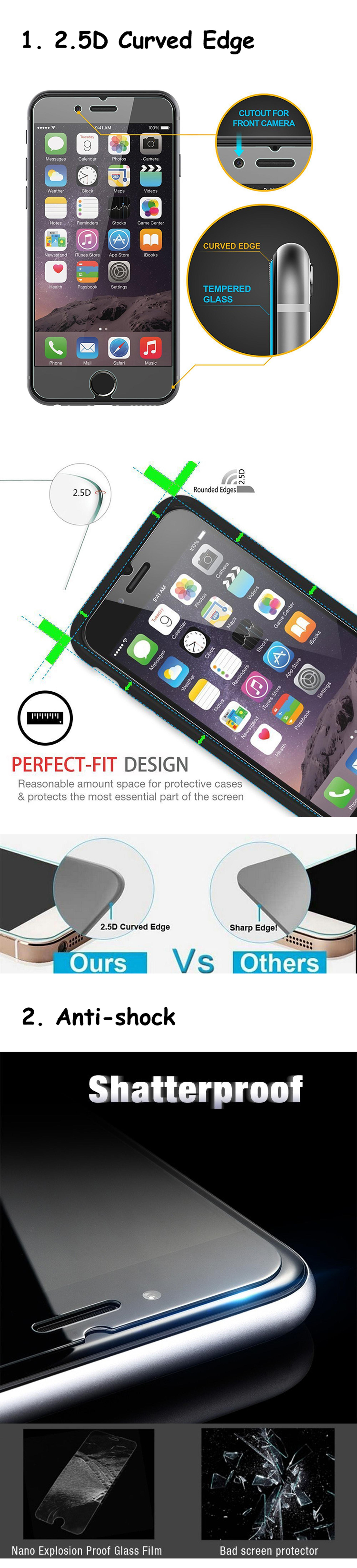 Factory supplier mobile phone screen protector,wholesale air bubble remove tempered glass for iphone 7
