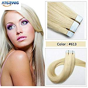 """ATOZWIG@20 Pcs 16"""" 18"""" 20"""" 22"""" 24"""" Inches Remy Pu Tape Skin Weft 100% Human Hair Extensions #613 bleach blonde"""