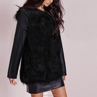 Winter New Women Faux Fur PU Leather Sleeve Coat Patchwork Warm Jackets Long Sleeve Elegant Black Outwears Casual Overcoats