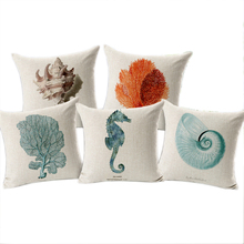 Sea Shell Throw Pillow Covers funda cojin 45*45cm Sofa Bedroom Cushion Accessories Home Decoration Art Cotton Linen Blending