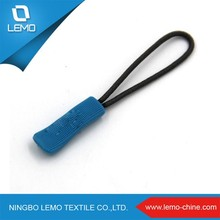 Cute Custom Soft Rubber Locking Zipper Puller With Nylon String