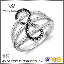 Women's Stylish Shining Sterling Silver Zircon Finger Rings Anniversary Wedding infinite Rings-RC0416473657