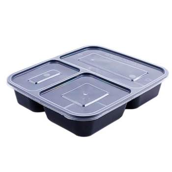 Disposable plastic 3 compartment food container meal prep container