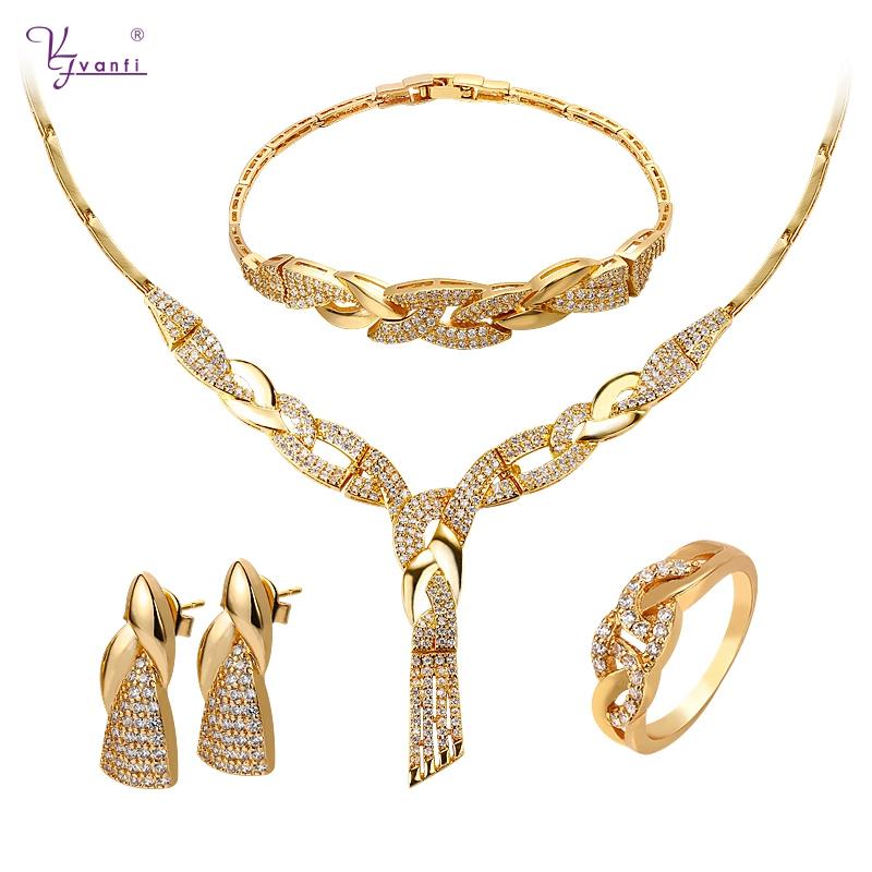 Dubai New Design Arabic Bridal Copper Cz Gold Plated Jewelry Sets