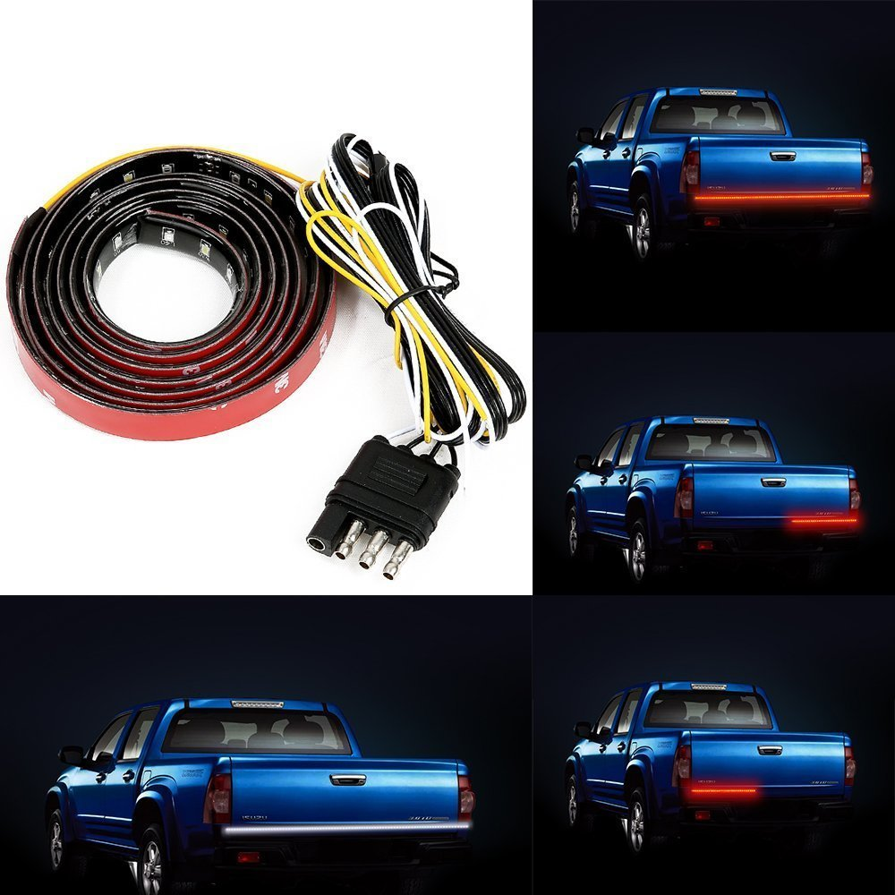 60 Inch 90pcs LEDs Auto Tailgate Light Bar, Geekeep Waterproof SMD 2835 Led Tail Light Strip Running Reverse Brake Turn Signal for Dodge Ram Truck Ford
