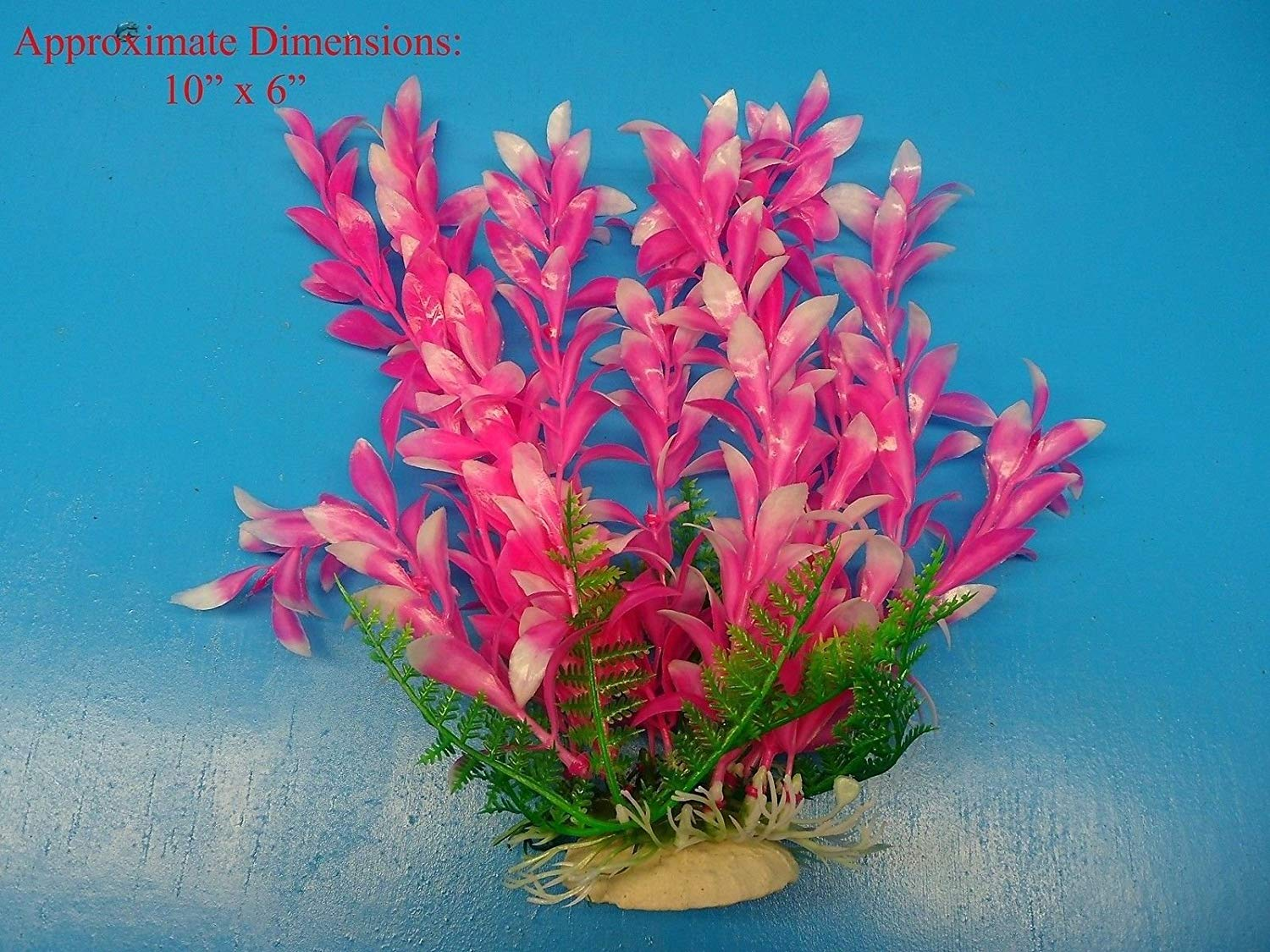 "Azaina_atl AQUARIUM DECORATION - PLASTIC PLANT W HEAVY BASE 34254 10"" H x 6"""