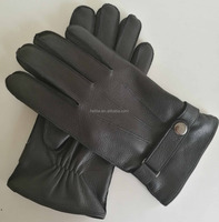 High quality Menswear Deer leather gloves cashmere lined fashion accessories