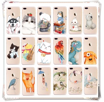 Cute Animal Graffiti Soft Case TPU Phone Cover For iPhone 5 SE 6 6S 7 Plus