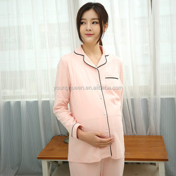 42b17af899d0e SN02 Quality Cotton Maternity Lounge Pajamas Clothes for Pregnant Women  Nursing Tops + Belly Pants Breastfeeding