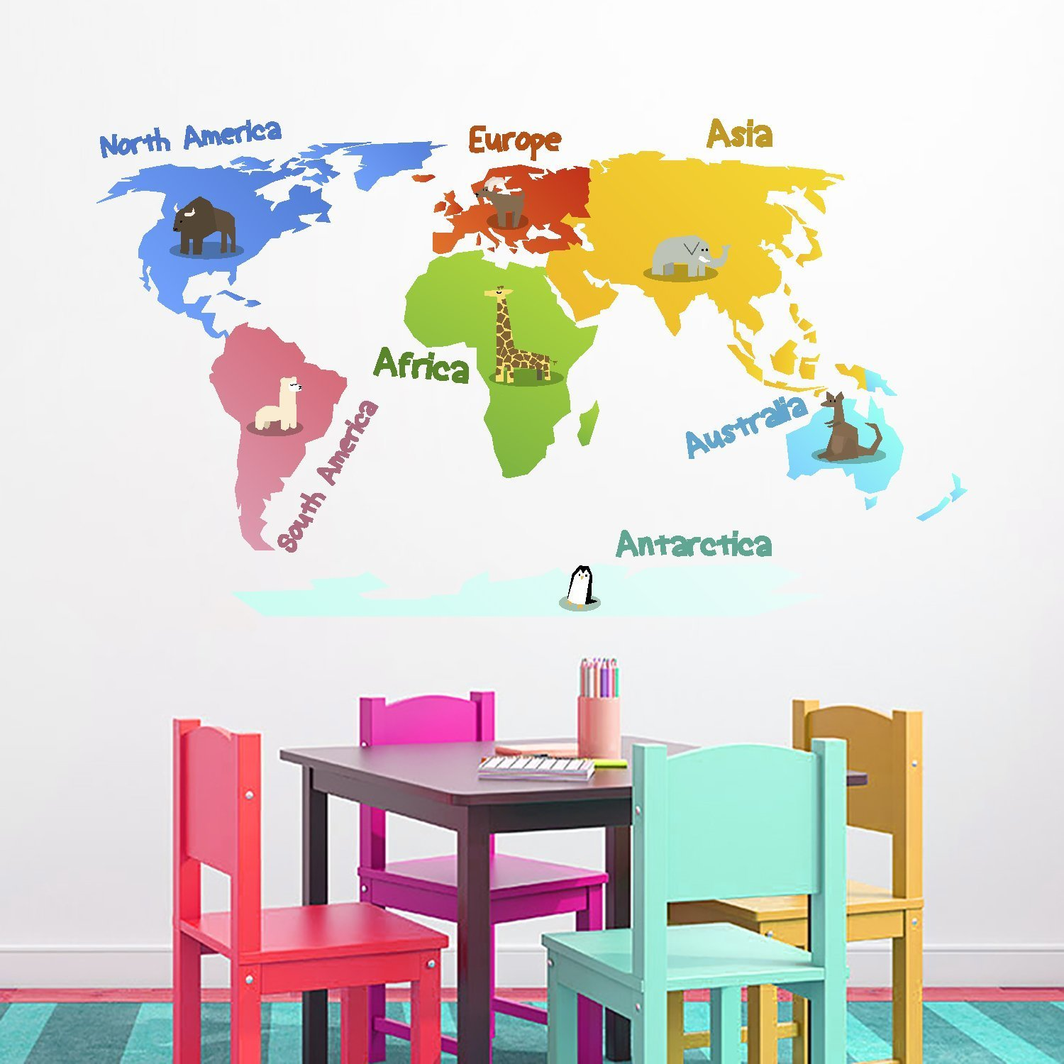 Cheap wall decal usa find wall decal usa deals on line at alibaba get quotations made in the usa removable wall decal map of the world kids nursery colored multicolored gumiabroncs Choice Image