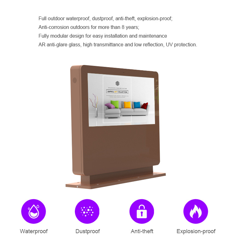 "32"" stand outdoor android wifi touch screen interactive advertising billboard kiosk"