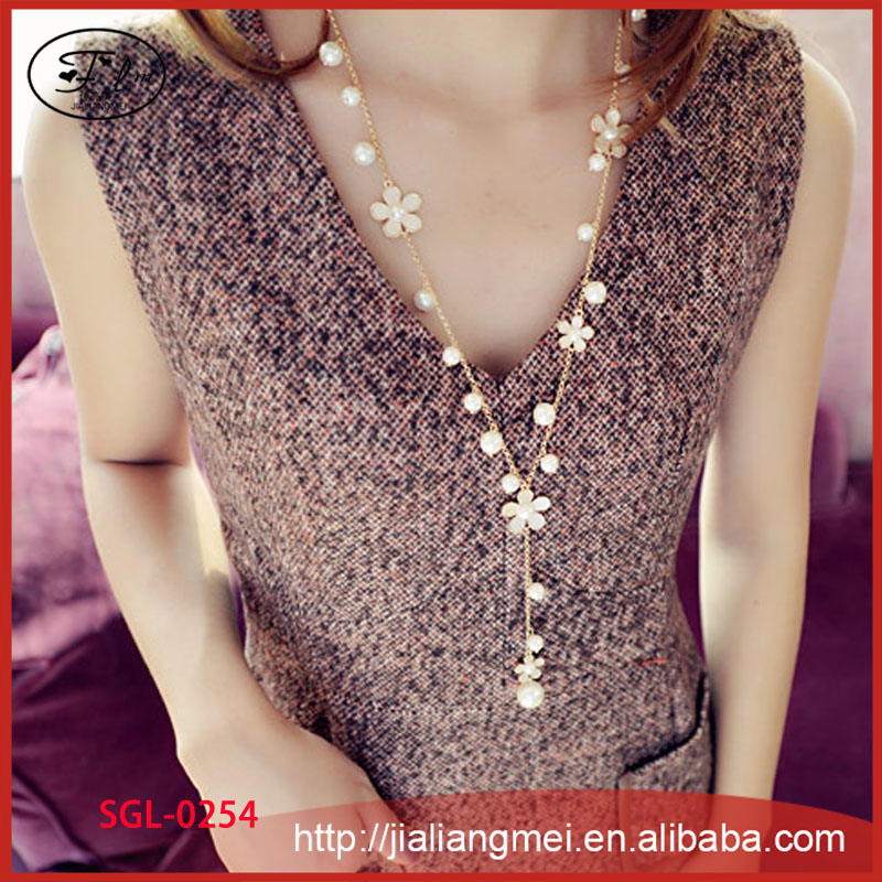 Free shipping Fashion small flowers pearl fringed long paragraph sweater chain necklace female <strong>accessories</strong>
