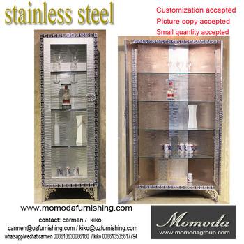 F03 Moderne Zeitgenossische Edelstahl Silber Nachgeahmt Leder Luxus Neoklassischen Wohnzimmer Eckschrank Sideboard Schrank