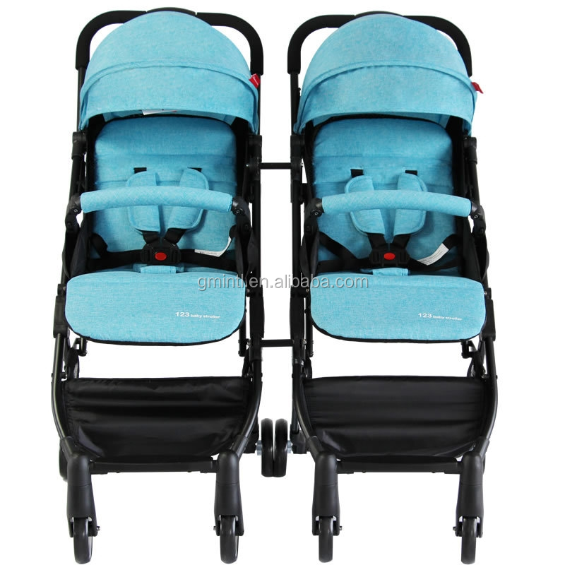 Factory sale Fashion design high quality double seat pushchair separable baby stroller