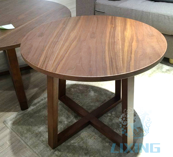 Antique Wood Furniture Low Height Small Round Living Room Coffee Table Product