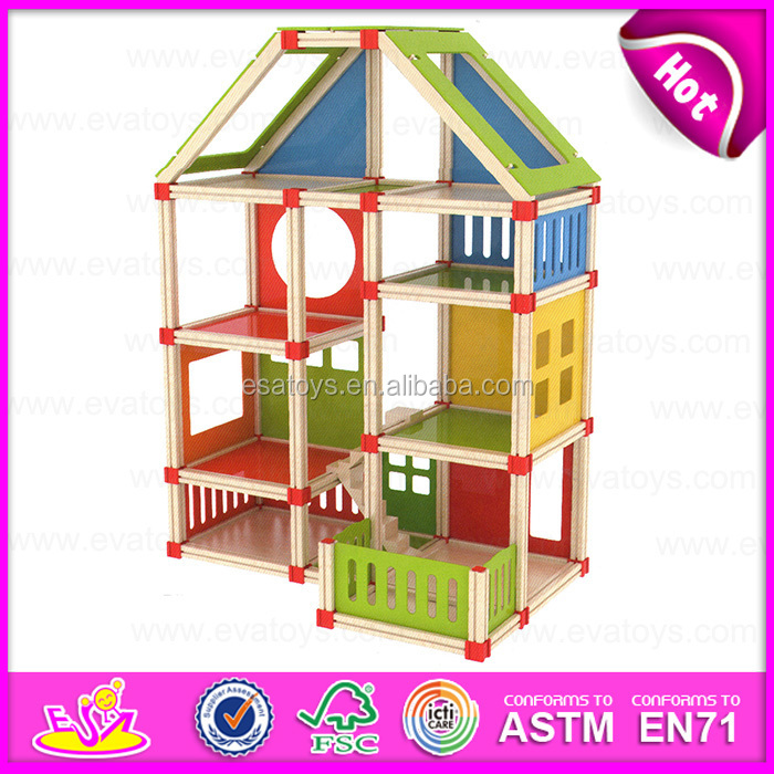 Best Kids Wooden Toy Doll House,Classic Children Wooden Doll House Toy,DIY  Cheap