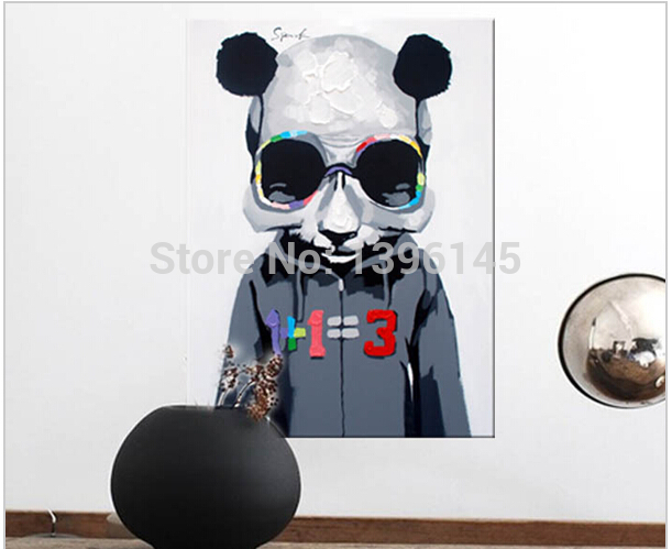 Hand Painted Modern Euro Style Wall Art Picture Living Room Home Decor Abstract Cool Panda Cartoon Animal Oil Painting On Canvas