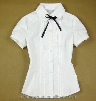 Oem white custom polycotton button polo women school for Womens school uniform shirts