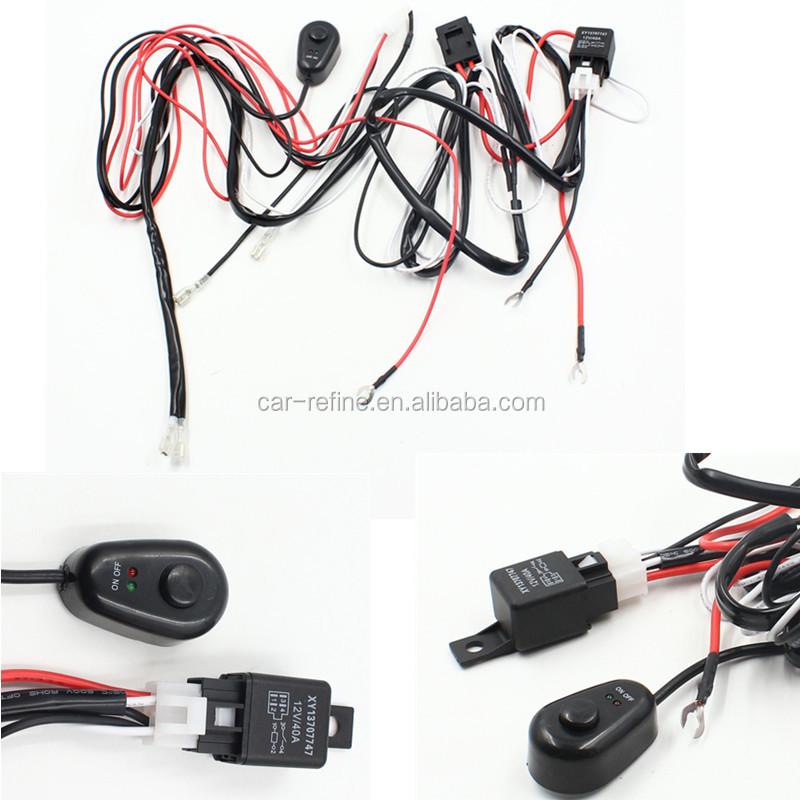 Telar del kit del arn/és de cableado de la luz antiniebla del coche universal 12V 40A para el trabajo LED Barra de luz de conducci/ón con fusible e interruptor de rel/é