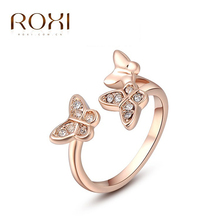 ROXI Brand Rose Gold Cute Ring With Zircon Double Butterfly Ring Open Jump Rings Wedding Engagement