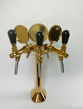 tripple faucets cobra beer tower gold plated with taps and medallions in drink dispensers XQ-1003-1