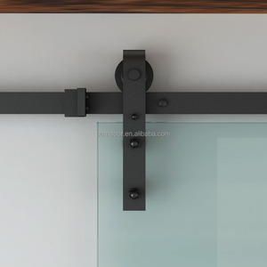 Black Carbon Steel Glass door Sliding Barn Door Hardware for Commercial and Residential Using