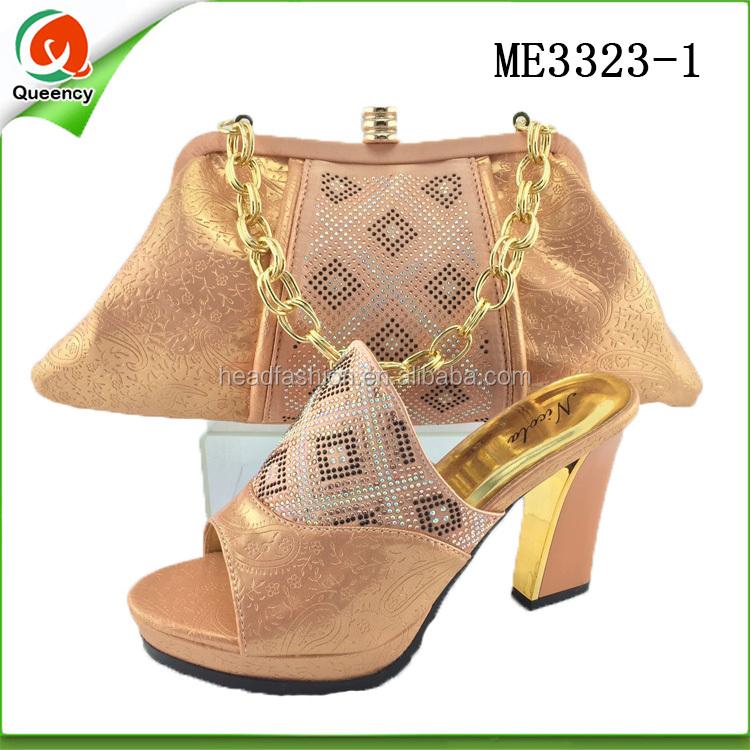 1 ladies bag ME3323 peach set high and heels bags women wedding and clutch shoes qn6YYO