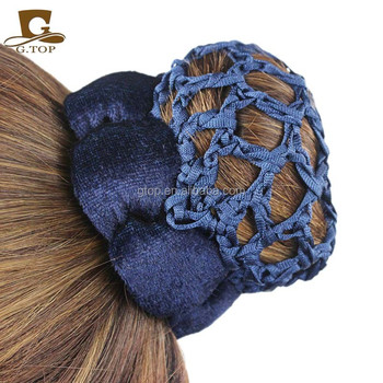 Velvet Crochet Hair Snood Bun Cover Hairnet Ballet Dance Skating