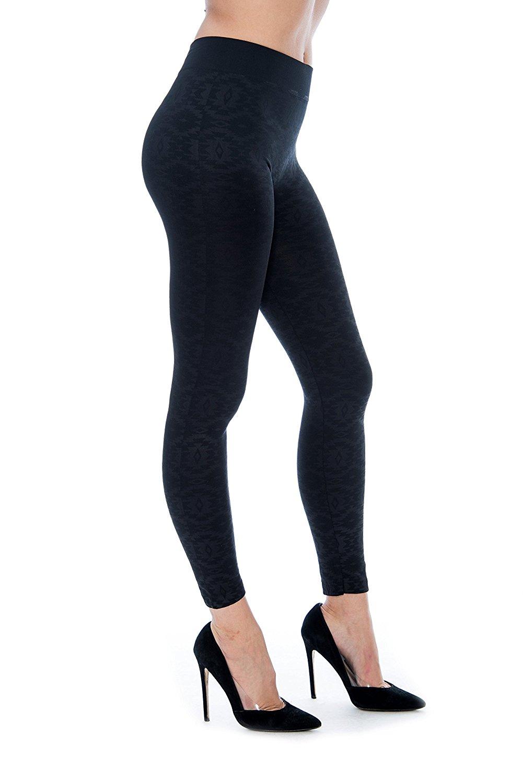 4cac811de8188 Get Quotations · Unique Styles Women's Fleece Lined Leggings Black Aztec  Tribal Print Stretch Textured Pants