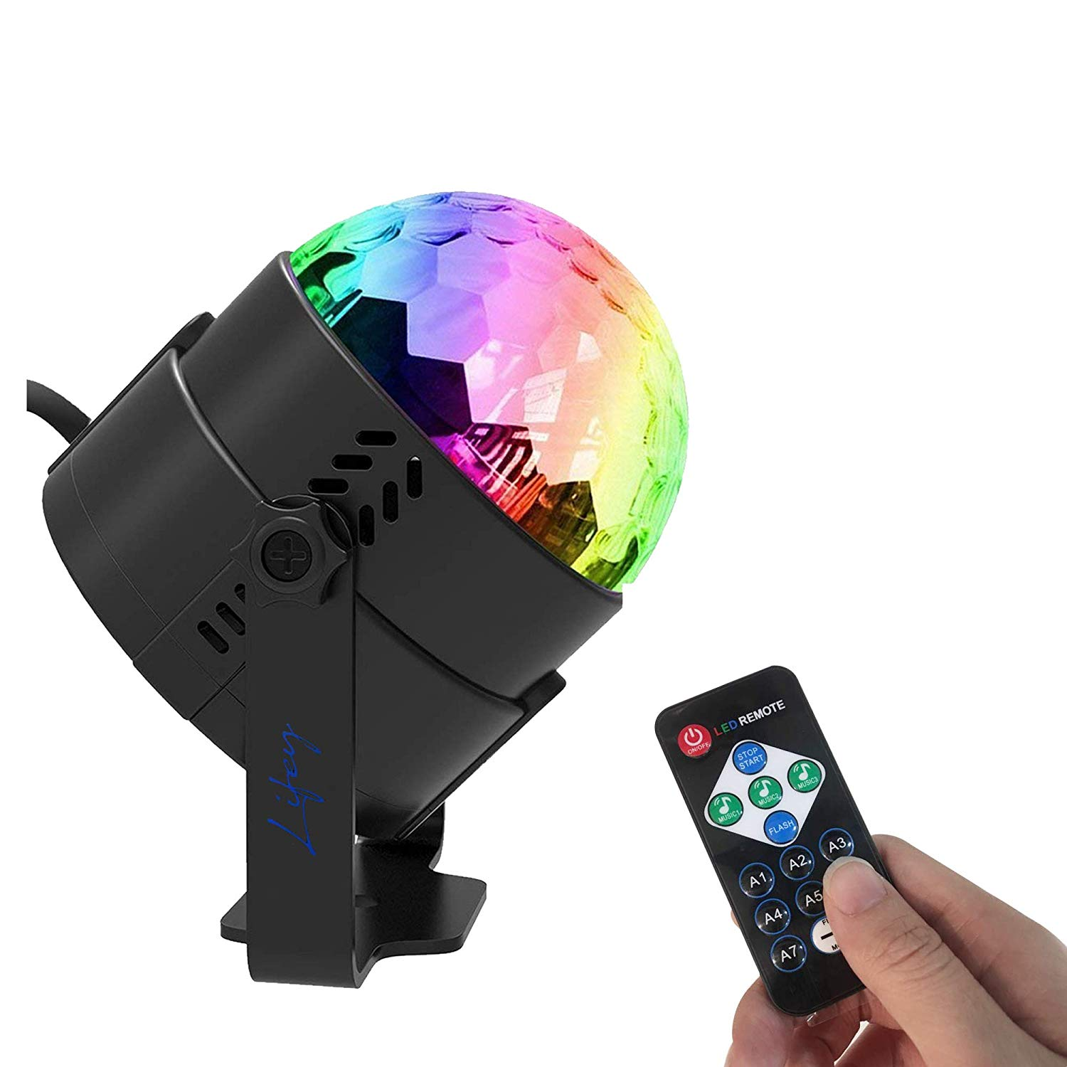 Lifey Sound Activated Party Lights with Remote Control Dj Lighting, RBG Disco Ball, Strobe Lamp 7 Modes Stage Par Light for Home Room Dance Parties Birthday DJ Bar Karaoke Xmas Wedding Show Club Pub