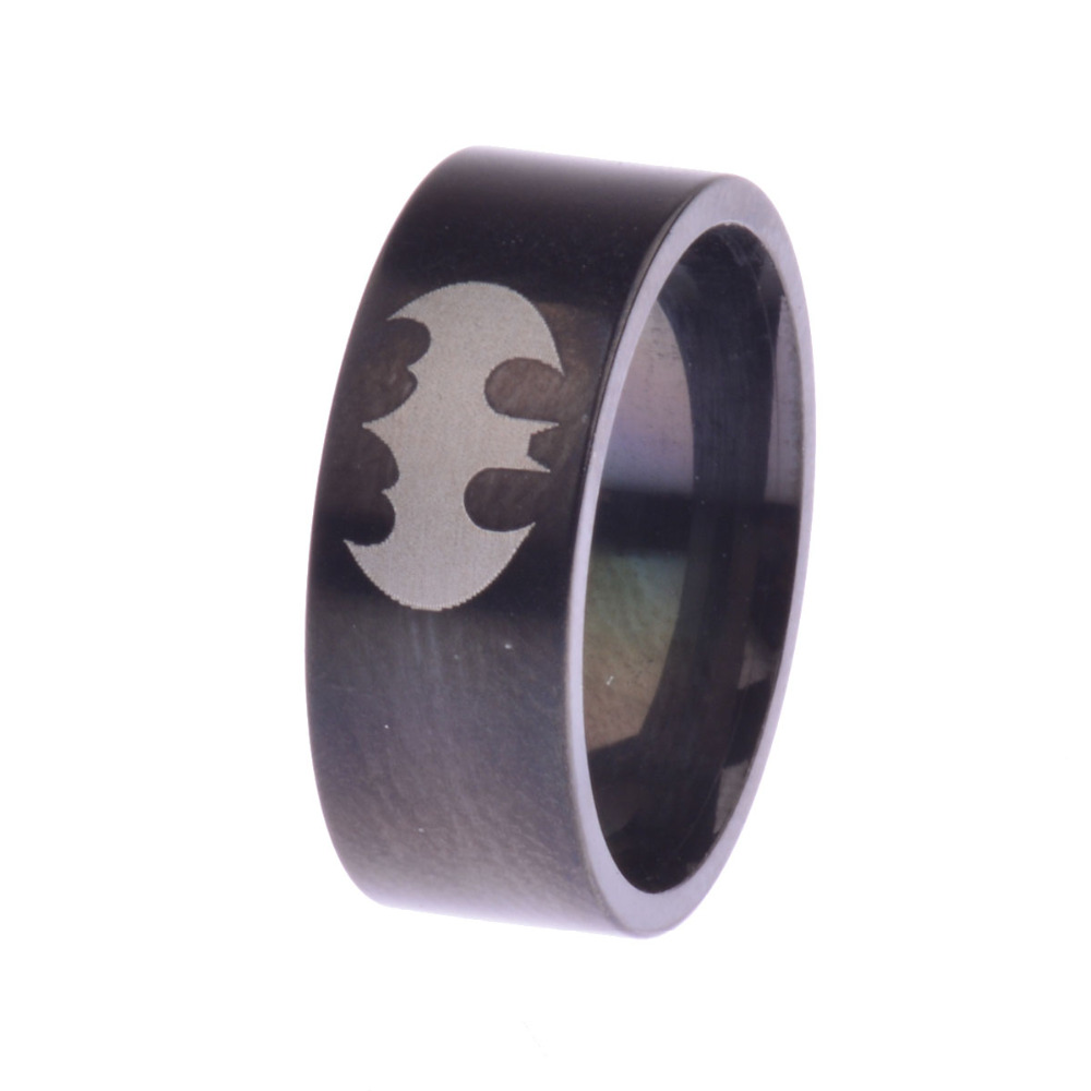 Hot Black Tungsten Laser Etched Batman Promise Rings